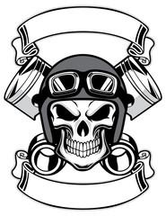 skull wearing retro motorbike helmet