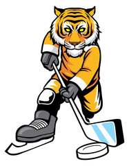 tiger playing ice hockey