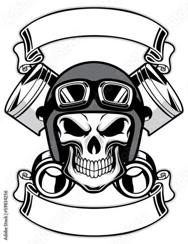 skull wearing retro motorbike helmet - 59834256
