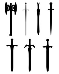 Black silhouettes of different swords, vector illustration