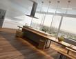 Modern sunny kitchen interior with wooden floor