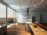 Modern sunny kitchen interior with wooden floor
