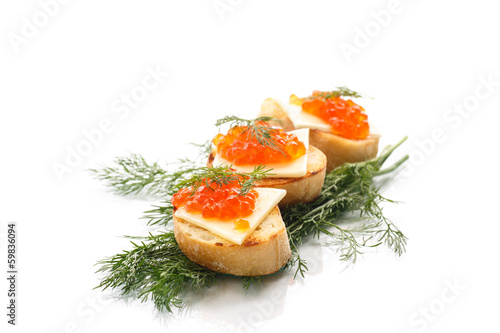 slice of bread with red caviar