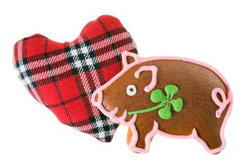 Glücksschwein Lebkuchen mit Stoffherz