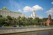 Traffic on Kremlin embankment against Ivan the Great bell tower