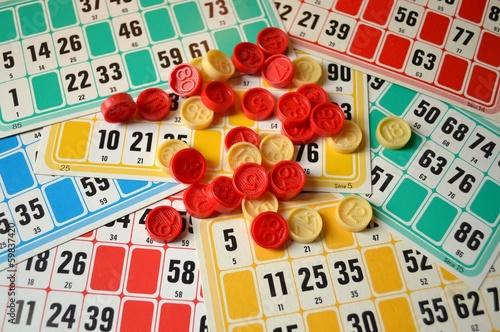 In de dag Ontspanning loto, cartes et jetons
