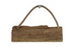 Isoliertes altes Holzbrett mit Seil zum Aufhängen
