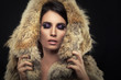 Beautiful woman posing in a fur coat