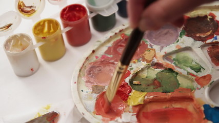 Painting palette close up