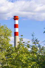 industrial chimney on blue sky among green foliage, vertical