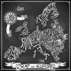 Europe Map Vintage Handwriting BlackBoard Vector