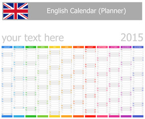 2015 English Planner Calendar with Vertical Months