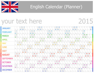 2015 English Planner-2 Calendar with Horizontal Months