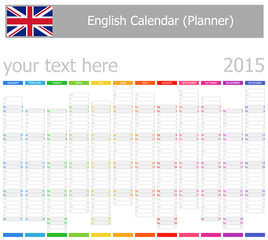 2015 English Planner-2 Calendar with Vertical Months
