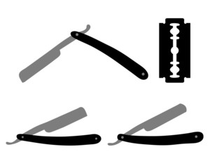 Silhouetteš of razors and razor blade, večtor illustration