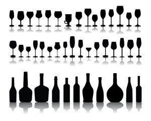 Silhouettes and shadow of  bottles and glasses, vector