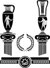 stencil of ancient columns and jugs