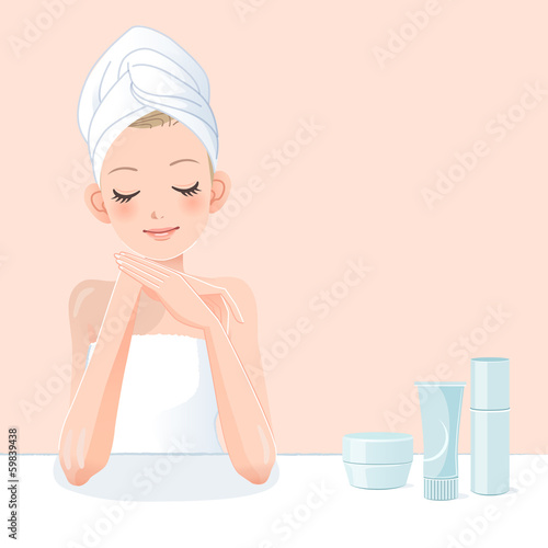 女性 美容 Cute young woman in towel applying moisturizer