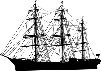 ship with three masts on white