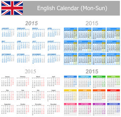 2015 English Mix Calendar Mon-Sun