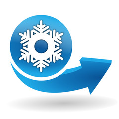 flocon de neige sur bouton web bleu