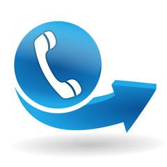 téléphone sur bouton web bleu