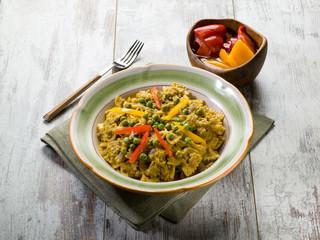 pasta with capsicum and peas