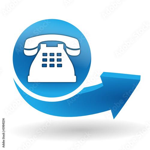 T l phone fixe sur bouton web bleu fichier vectoriel libre de dro - Acheter un telephone fixe ...