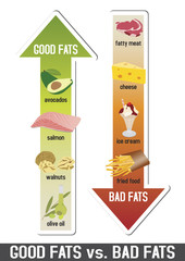 Good fats and bad fats, polyunsaturated and monounsaturated fats