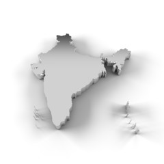 India map 3D silver with clipping path