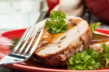 Sliced pork lion roll stuffed with mushrooms