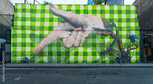 Big graffiti mural in Shoreditch, London - 59842032
