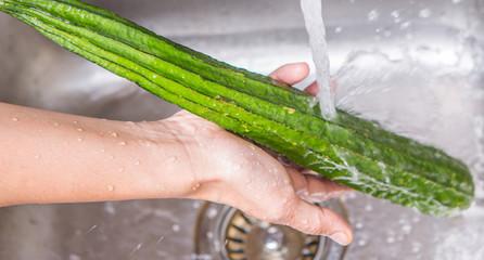 Washing Snake Gourd Vegetables