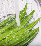 Washing Ladyfinger Vegetables
