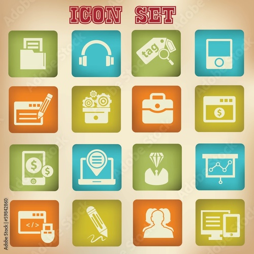Vintage seo icons,version 1,vector