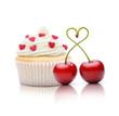 Kirschen und Cupcake