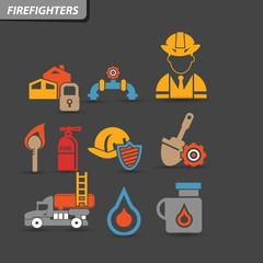 Firefighters icons,vector