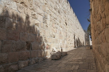 Jerusalem old city wall at Zion Gate