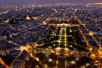 Night view of Paris from the Eiffel Tower
