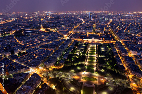 Famous and Beautiful night view to Paris from the Eiffel Tower