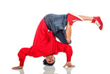Hip Hop dancer stand on arms