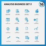 Business and analysis icon set 2,Blue version