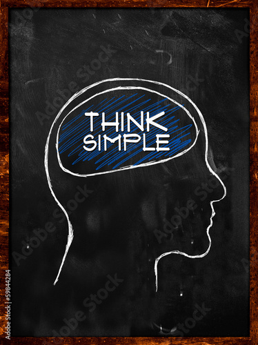 Think Simple - Sketch On blackboard