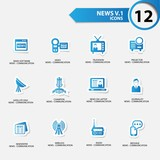 News icon set 1,blue version vector