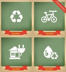 Ecology icons on blackboard,vector