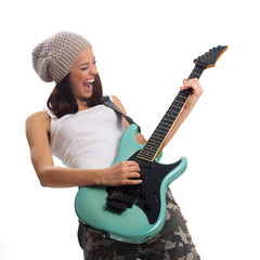 Beautiful young woman playing a guitar