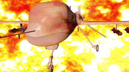 Predator Type Drone firestorm 3D animation