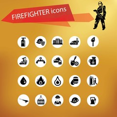 Fireman icon set,vector