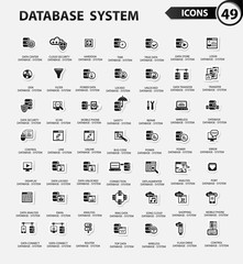 Database system,Data center,Data security icons