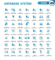 Database,Server computer,Data security,Technology icons